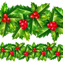Christmas holly leaves and berries vector seamless garland