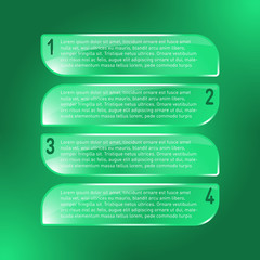 Green transparent glass tags, with placeholder text and number for infographic