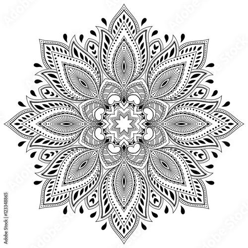 Vector Henna Tatoo Mandala Mehndi StyleDecorative Pattern In Oriental Style Coloring Book