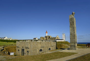 Pointe de Saint Mathieu, National memorial to sailors who gave their lives for France in First World War 1914-1918. On the background lighthouses and ruins of a medieval monastery