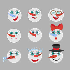 Cute snowmen  head emotion vector avatars set. Cartoon expressio