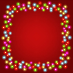 Merry Christmas and Happy New Year vector illustration with copy space. Abstract background with glowing lights
