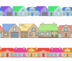 Set of seamless borders with country houses. Vector element for frames, postcards and your design