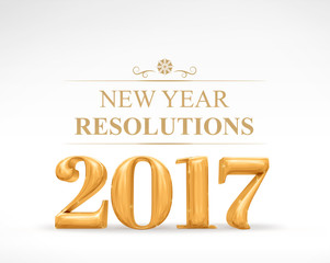 2017 new year redolutions golden color (3d rendering) on white s