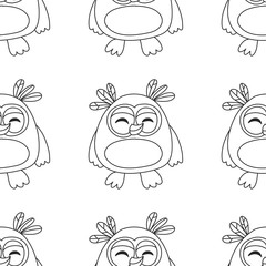 Seamsless pattern with cute owl Vector image