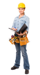 Young Woman Construction Worker with Notebook on White