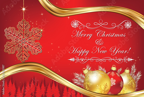 elegant christmas and new year greeting card business red christmas and new year background