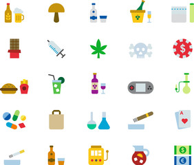 DRUGS & ADDICTIONS colored flat icons