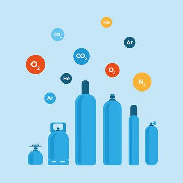 Gas bottles vector illustration