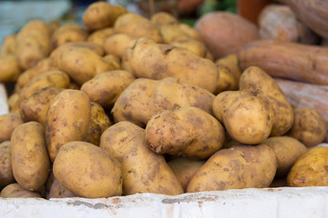 Potatoes on market. Potatoes for selling at vegetable market  in