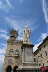 Statue of Liberty in San Marino Country and the ancient palace c