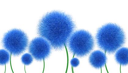 Obraz Niebieskie kwiaty na białym tle - fototapety do salonu