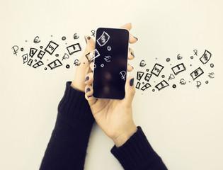 Smartphone with money sketch