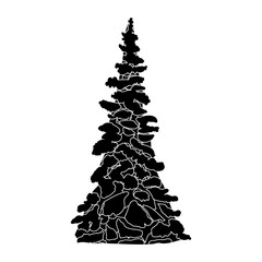 black and White Christmas tree silhouette vector illustration