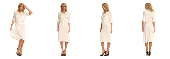 Beautiful blonde woman in white dress isolated on white