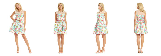 Beautiful blonde woman in summer dress isolated on white