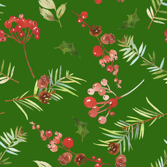 Watercolor seamless Christmas pattern