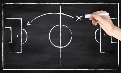 Hand mit Kreide zeichnet Fußballfeld auf eine Tafel