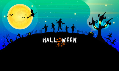 Colorful Halloween background design. This illustration can be used as a greeting card, poster banner or print.