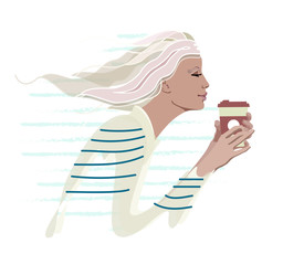 Abstract watercolor drawing of a girl in the morning with a cup of coffee pattern