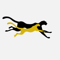 Abstract watercolor illustration of two running cheetah (color yellow, white and black), force logo, emblem of power, pattern free animals