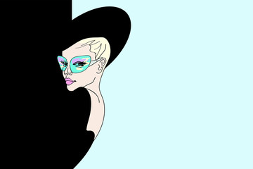Abstract sketch of a girl model in  dress and hat, green sunglasses. Background black and blue . Fashion week