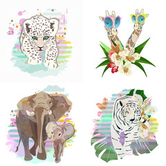 Abstract draw of elephant family (mom and baby), couple giraffes in sunglasses, leopard, tiger