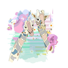 Abstract watercolor illustration of two cool girls giraffe in fashion flower hats, background of colorful spots isolated on white, color vector prints, pattern  animals