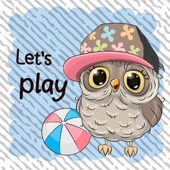 Cute Owl with a ball