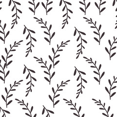 pattern silhouette stems with few leaves vector illustration