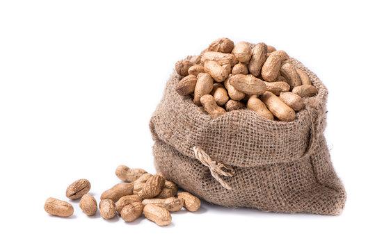 peanut in sack on white background