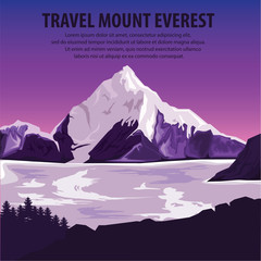 Poster Prune illustration vector. Travel the world . Travel around mountains Everest and beautiful landscape . Travel and Famous Landmarks. highest mountains Everest.