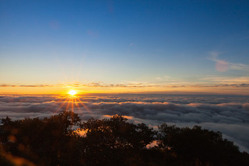 Sun and cloud at sunrise time at Doi Luang Chiang Dao, Chiang Ma