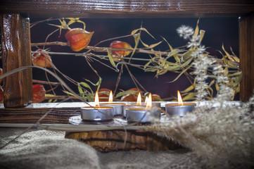 dekoracja listopadowa ze świec i suszonych kwiatów, dried plants, dried flowers