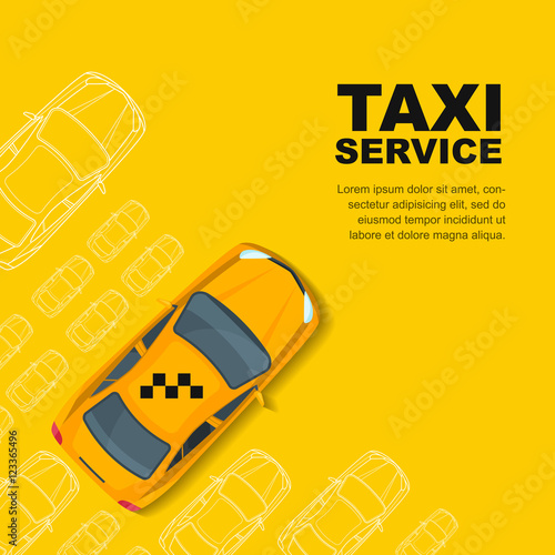 Taxi Service Concept. Vector Yellow Banner, Poster Or Flyer