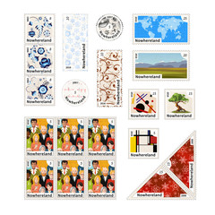 Stamps with illustrations and the price of an imaginary country