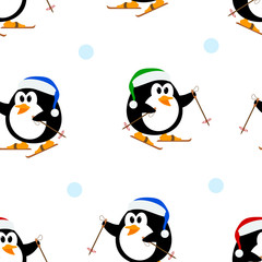 Seamless vector texture with penguins on skis. Vector pattern wi
