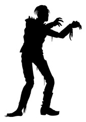 Zombie punk man silhouette. Illustration zombie man with arms outstretched