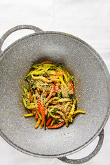 vegetable stir fry in wok