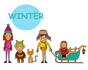 Group of children-winter boys and girls isolated on white background. Vector illustration