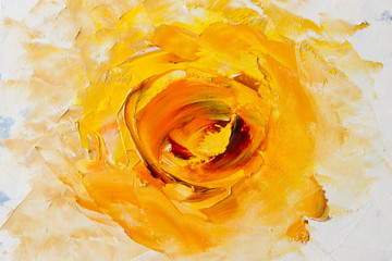 Art Oil-Painting Picture Fantasy Yellow Flower. Abstract oil painting background. Oil on canvas texture. Hand painted. Modern art.