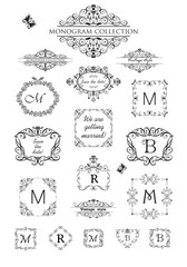 Collection of vintage labels, headers and frames for wedding invitation, greeting card, logo templates, monogram, menu card, restaurant, cafe, hotel, jewellery store
