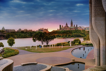 View of the Parliament of Ottawa from the other side of the Ottawa River.