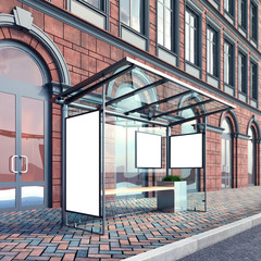 Mock up of poster on the bus stop, classic building, stock image, perspective, 3d rendering