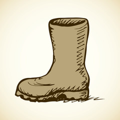 Rubber boots. Vector drawing