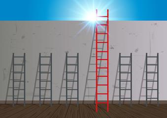 Réussite - mur - échelle - obstacle