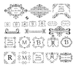 Set of vintage labels, headers and frames for wedding invitation, greeting card, logo templates, monogram, menu card, restaurant, cafe, hotel, jewellery store