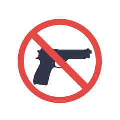 no guns sign with pistol, handgun silhouette, no weapons allowed, vector illustration