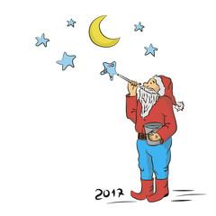 Санта и звезды вектор