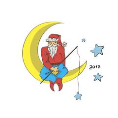 Санта на луне вектор